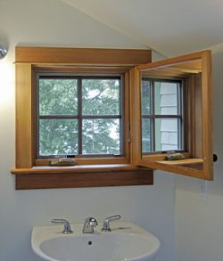 open window in bathroom